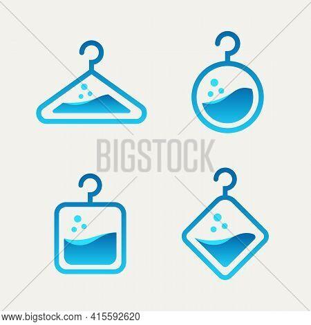 Set Of Laundry Washer Washing Machine Minimalist Line Art Flat Logo Icon Template Vector Illustratio