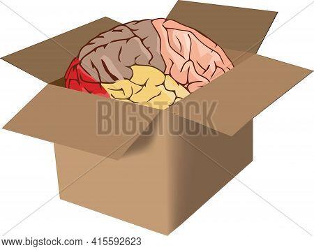 Cardboard Box With Human Brain Cardboard Box With Human Brain