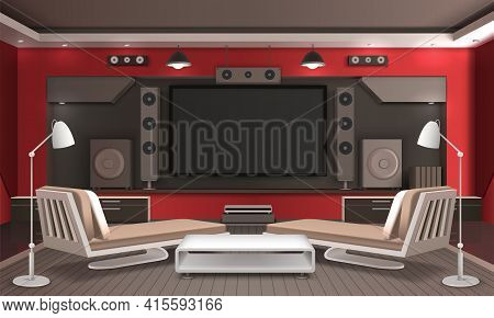 Home Theater Interior 3d Design With Audio Video System, Table And Couches On Grey Floor Vector Illu
