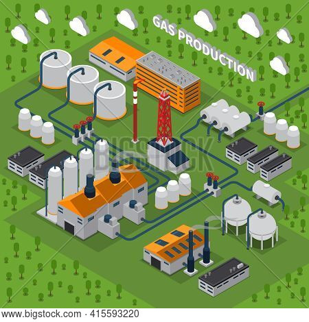 Gas Production Isometric Composition With Industrial Facilities Including Buildings, Station, Smokes