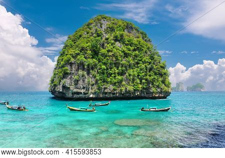 Beautiful uninhabited rocky island in Thailand