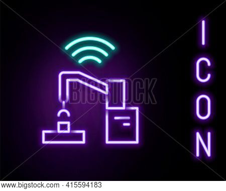 Glowing Neon Line Industrial Machine Robotic Robot Arm Hand Factory Icon Isolated On Black Backgroun
