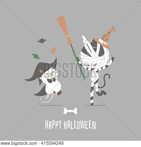 Happy Halloween Holiday Festival With Mummy Cat And Mouse, Flat Vector Illustration Cartoon Characte