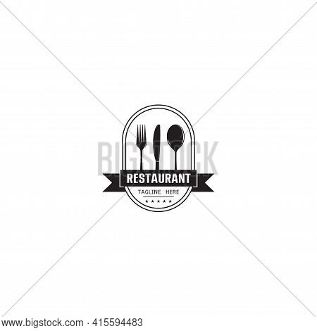 Food Chef Cook With Fork Spoon Knife Kitchen Restaurant Cafe Logo Design Icon Vector Template On Whi