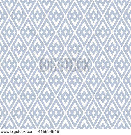 Abstract Seamless Geometric Diamonds Blue Pattern. Vector Art.