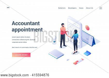 Accountant Appointment. Isometric Banner. Male And Female Tiny Cartoon Characters Communicate With E