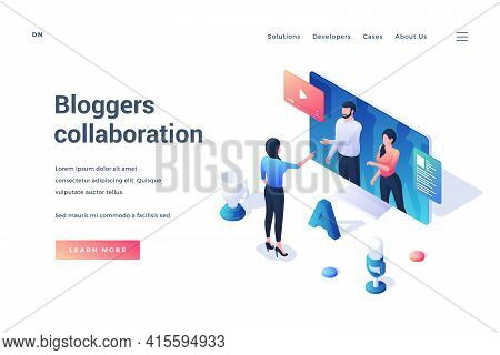 Bloggers Collaboration. Isometric Web Banner. Female Blogger Communicate With Other Bloggers Online.