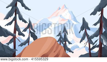 Panoramic View From Cliff On Mountain Peak Covered With Snow. Calm Nature Landscape With Forest And