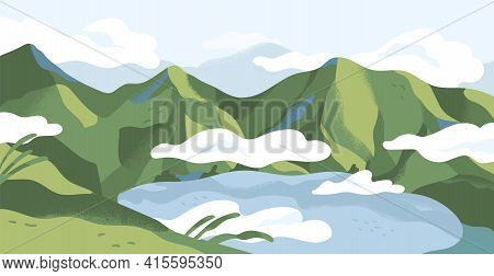Panoramic View Of Summer Landscape With Lake In Mountains. Calm Nature Panorama Of Highlands In Gree