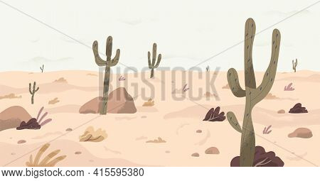 Panorama Of Calm Plain Desert Land With Cactuses On Dry Sand. Panoramic View Of South Nature Landsca