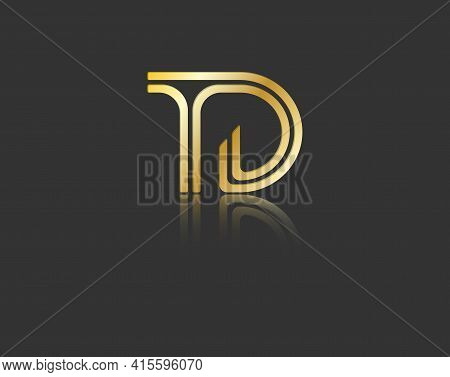 Gold Stylized Lowercase Letters T And D With Reflection Connected By A Single Line For Logo, Monogra