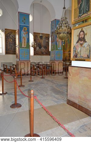 MADABA, JORDAN - JULY 22, 2015: Saint George Greek Orthodox Church Interior. The Church is also know for the 6th century mosaic map of the region.