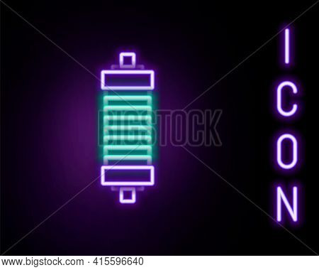 Glowing Neon Line Shock Absorber Icon Isolated On Black Background. Colorful Outline Concept. Vector