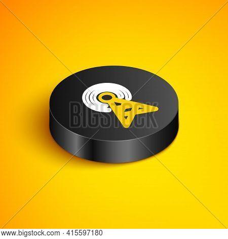 Isometric Line Antenna Icon Isolated On Yellow Background. Radio Antenna Wireless. Technology And Ne