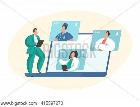 Medical Video Conference. Male And Female Cartoon Characters Medical Specialists Connecting Online A