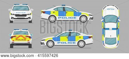 Vector Uk Sedan Auto. English Police Car. Side View, Front View, Back View, Top View. Cartoon Flat I