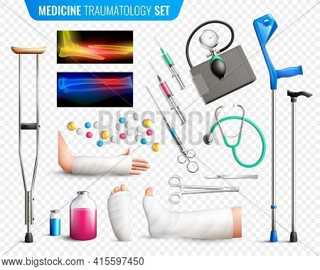 Set Of Medical Tools, X-ray With Bones Fracture, Traumas Of Limbs, Transparent Background Isolated V