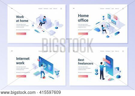 Vector Set Of Website Templates With Cartoon Male And Female Characters Working On Internet And Remo