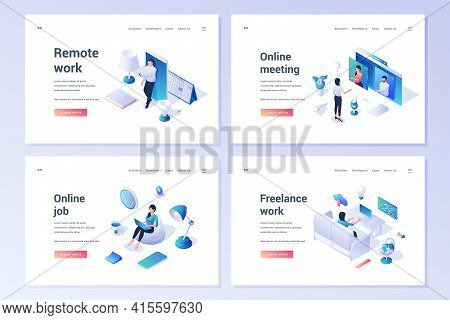 Set Of Website Templates With Isometric People Working On Computers And Mobile Phones While Having D