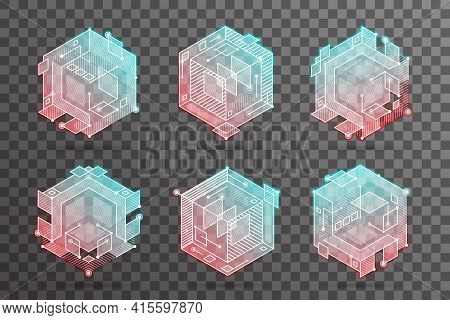Abstract Isometric Hexagon Lines Cubic Elements Technical 3d Background Vector Design Illustration