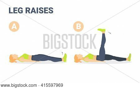 Lying Leg Raises Or Lifting With Exercise Illustration. Colorful Concept Of Girl Body Weight Workout