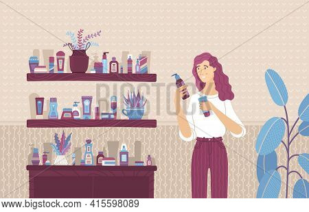 Young Woman Choosing Between Skincare Cosmetic Products Cartoon Illustration