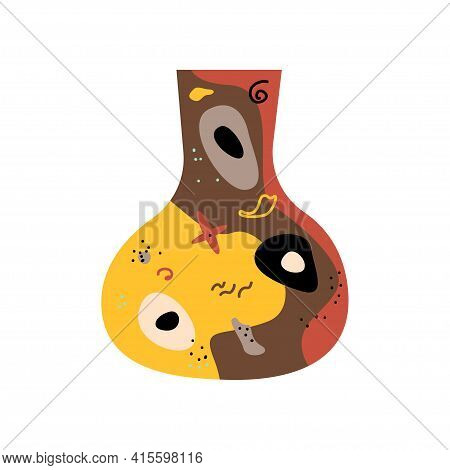 Ethnic Clay Terracotta Vase Pattern Background. Isolated African Vase Symbol For Design Tourism Agen