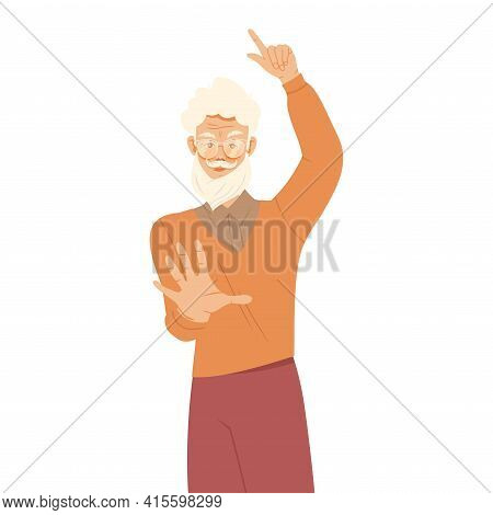Senior Moustached Man Raising His Hand Up Supporting Street Protest Against Human Rights Violation V