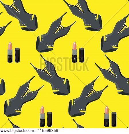 Colorful Swimsuit Pattern Background. Black Sexy Bikini And Glamour Lipstick On Yellow Background.