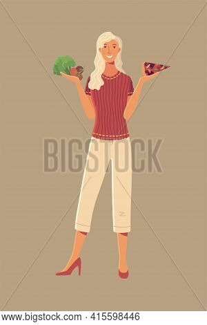 Young Woman Choosing Between Broccoli, Tomato, And Pizza Cartoon Vector Illustration