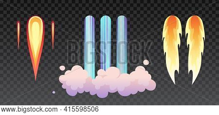 Rocket Fire And Smoke Trails, Airplane Shuttle Contrails Isolated Set On . Realistic Spacecraft Star