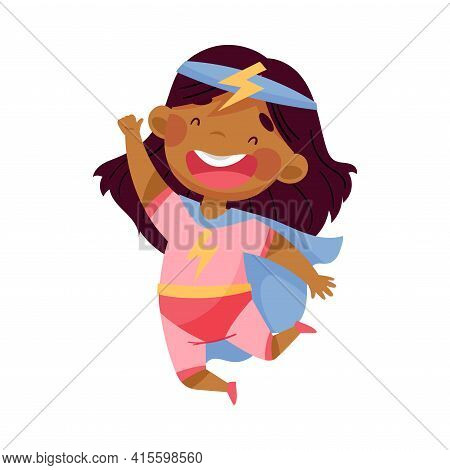 Cheerful African American Girl Wearing Costume Of Superhero Jumping High Pretending Having Power For