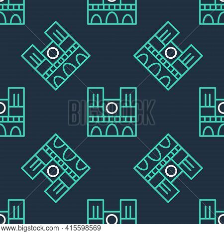 Line Landmark Of France Notre Dame De Paris Icon Isolated Seamless Pattern On Black Background. Vect