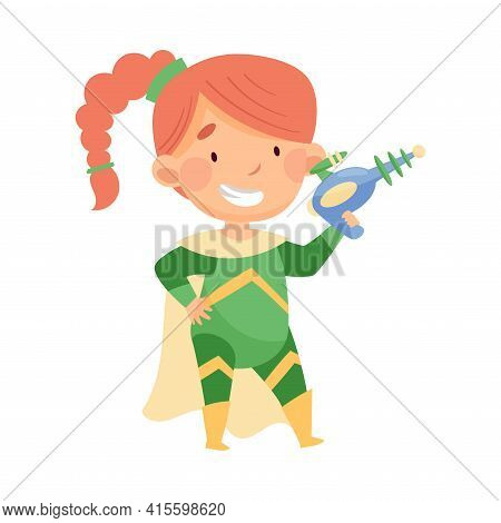 Little Redhead Girl Wearing Costume Of Superhero Holding Water Pistol Pretending Having Power For Fi