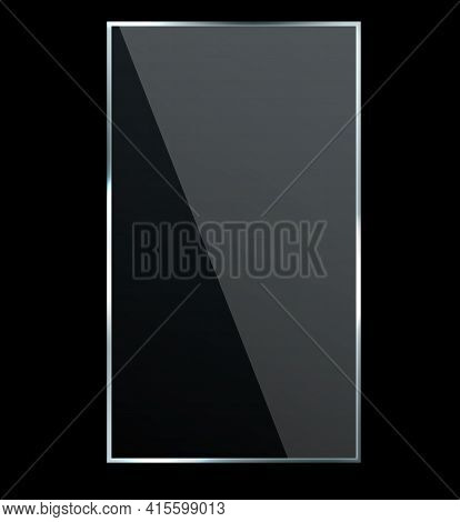 Reflection Effect Glossy. Transparent Glass Plastic Window With Bright Glow, Plaque Reflective Textu