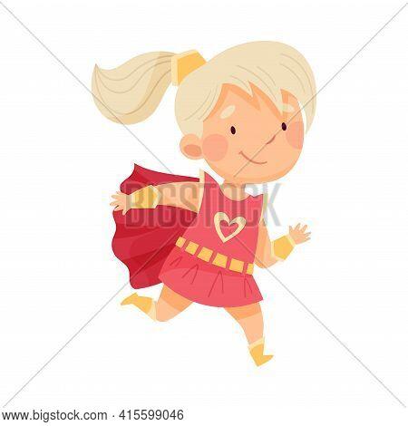 Blond Little Girl Wearing Costume Of Superhero Running Pretending Having Power For Fighting Crime Ve
