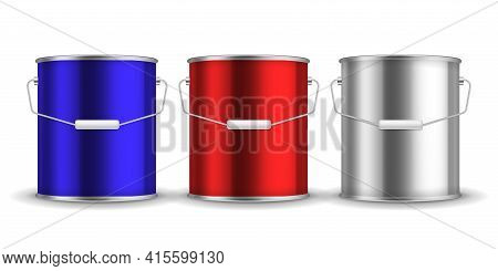 Steel Can For Paint. Realistic Metal Buckets With Handles. 3d Packaging For Liquid. Blue Or Red And