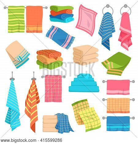 Towel Cartoon Set. Beach, Kitchen And Bath Hanging And Stacked Towels Collection. Cotton Napkin And