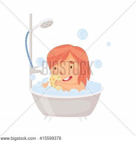 Little Girl Sitting In Tub Full Of Foam Taking Bath In Bathroom Washing With Soap Vector Illustratio