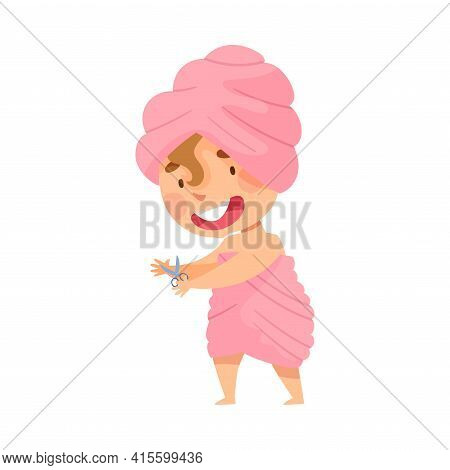 Smiling Girl With Her Hair Wrapped In Towel After Taking Bath Cutting Her Nails Vector Illustration