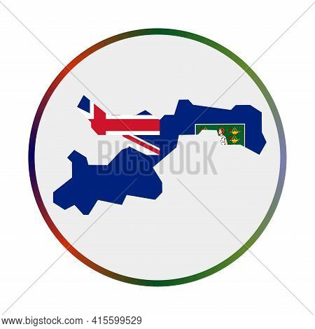 Norman Island Icon. Shape Of The Island With Norman Island Flag. Round Sign With Flag Colors Gradien