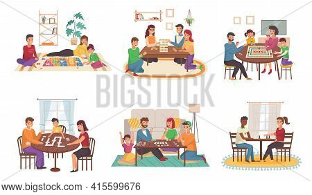 People Play Board Games At Home. Happy Families Play Chess And Poker, Domino And Puzzles Cartoon Sce