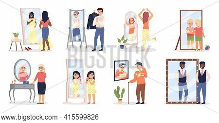 People Looking At Mirror. Men And Women See Themselves In Reflective Surface. Human Appearance Refle