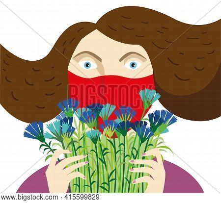 Woman In A Medical Mask Holding A Bouquet Of CornflowersCornflowers
