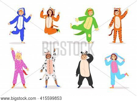 Kids Animal Dress. Cartoon Children Wear Costumes. Funny Carnival Clothes With Animalistic Prints Or