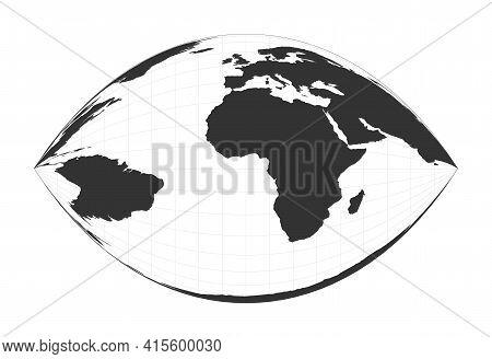 Map Of The World. Craig Retroazimuthal Projection. Globe With Latitude And Longitude Net. World Map