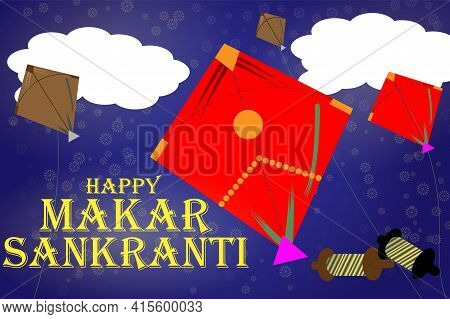 Illustration Of Happy Makar Sankranti Wallpaper With Colorful Kite String For Festival Of India, Ban