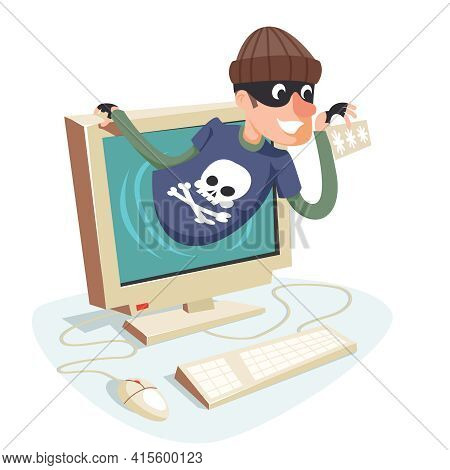 Internet Personal Data Steal Thief Fishing Computer Pc Character Cartoon Design Retro Vector Illustr