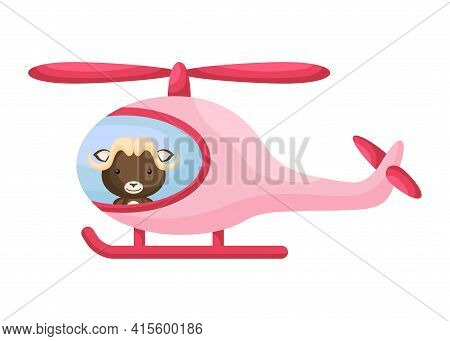 Cute Little Musk-ox Pilot In Pink Helicopter. Cartoon Character For Childrens Book, Album, Baby Show