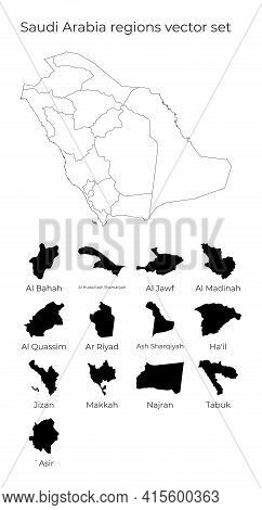 Saudi Arabia Map With Shapes Of Regions. Blank Vector Map Of The Country With Regions. Borders Of Th